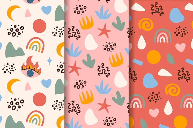 Summertime hand drawn seamless patterns