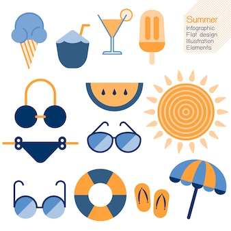 Summertime  infographic flat design element. vector illustration summer concept.
