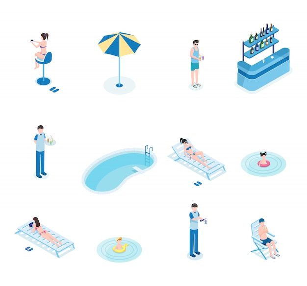 Summertime leisure isometric vector illustrations set. tourists, bartender and waiter 3d cartoon characters