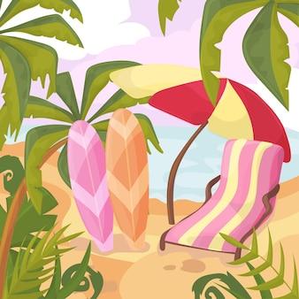 해변에서 여름입니다. 야자수와 식물 주위입니다. 만화 벡터 일러스트 레이 션. 바다 해안에서 여름 휴가