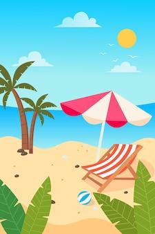 Лето на пляже с пальмами