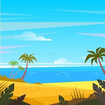 야자수와 식물이있는 해변의 여름