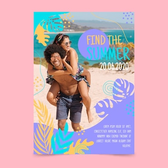 Летняя вечеринка плакат и пара на пляже