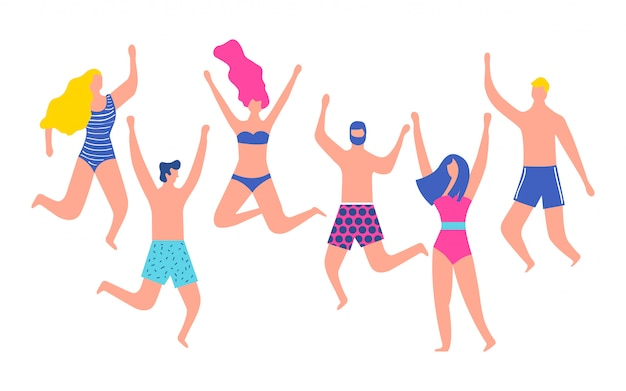 Summertime people in swimsuit jumping