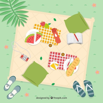 Summertime picnic on the grass