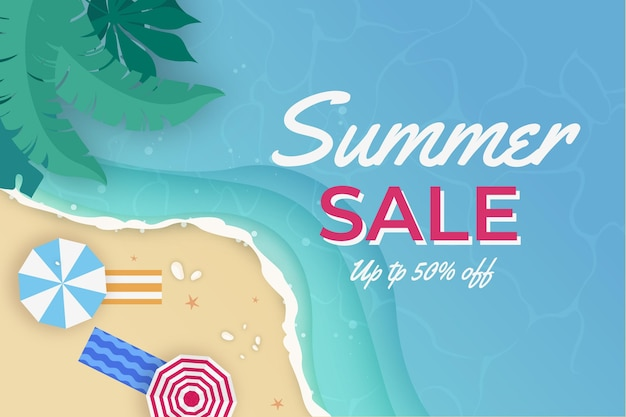 Summertime sales for beach flat design