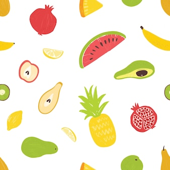 Summertime seamless pattern with exotic fresh juicy fruits