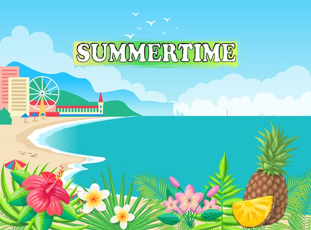 Summertime seashore vector illustration