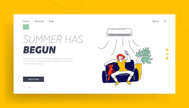 Summertime season heating landing page template. woman suffering of heat use conditioner