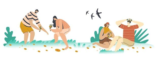 여름 시즌 여가, 로맨스. 행복한 남성 또는 여성 캐릭터는 녹색 초원에서 화환을 짜기 위해 아름다운 꽃을 줍습니다. 젊은 부부는 야외에서 시간을 보냈습니다. 만화 사람들 벡터 일러스트 레이 션