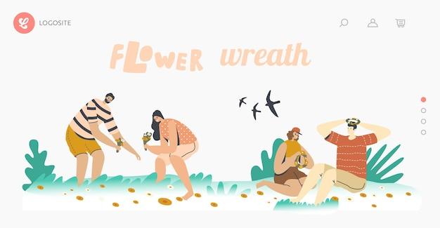 夏のシーズンスペアタイム、ロマンスランディングページテンプレート。幸せなキャラクターは、緑の牧草地に花輪を編むために花を拾います。若いカップルは屋外で時間をスピードアップします。漫画の人々のベクトル図
