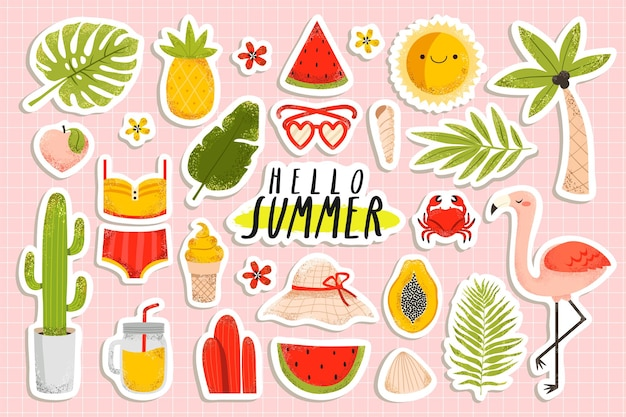 Summertime stickers set with flamingo, pineapple, palm tree, ice cream, bikini, watermelon, flowers on pastel pink background.