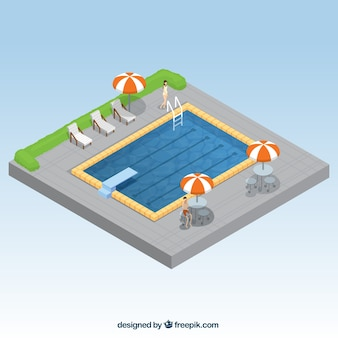 Summertime swimming pool in isometric style