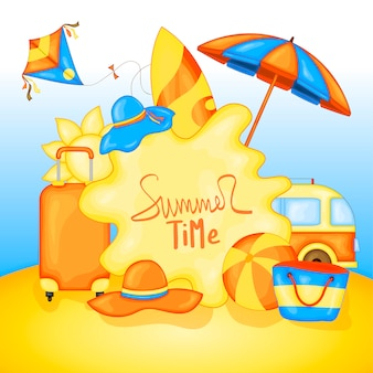 Summertime for text and colorful beach elements on the background of sea and sand
