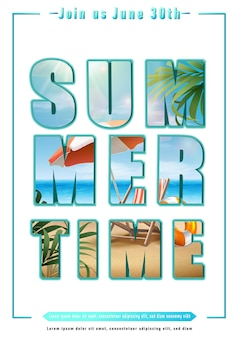 Summertime text with big letters and beach illustration on them