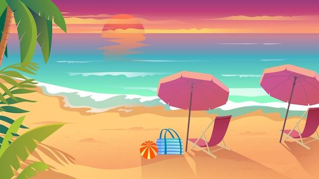 Летний отдых на морском курорте в плоском мультяшном стиле