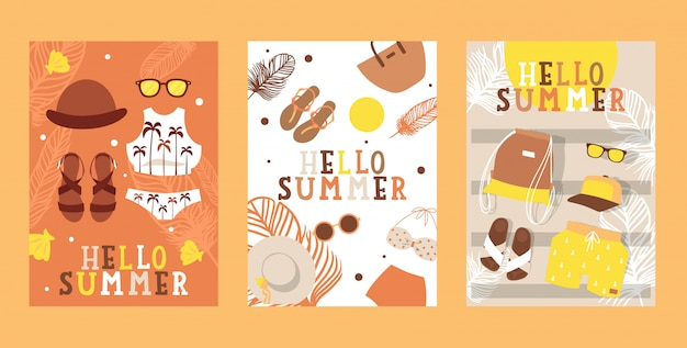Summertime vacation banners,  illustration. travel agency flyer, simple icons of vacation fashion accessories.