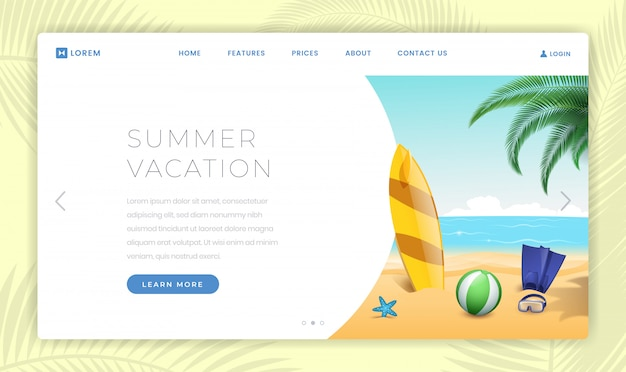Summertime vacation landing page template. surfing, scuba diving equipment on sandy beach