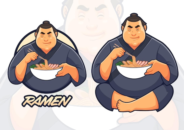 ラーメン屋でラーメンを食べる相撲