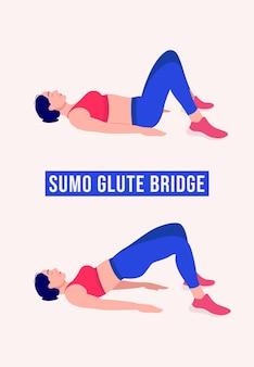 Сумо ягодичный мост упражнение женщина тренировки фитнес аэробика и упражнения