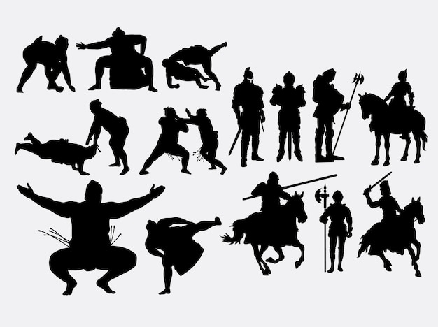 Sumo and knight fighter silhouette