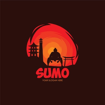Плоский шаблон логотипа сумо