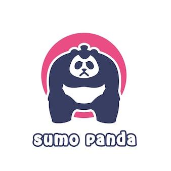 相撲パンダのマスコットロゴイラスト