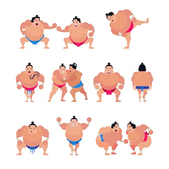 Sumo vector japanese fighter or sumowrestler character of traditional sport in japan illustration set