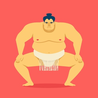 Sumo wrestler. vector cartoon illustration of cute big asian man.