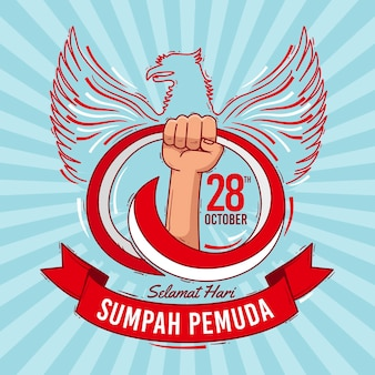 Sumpah pemuda hand drawn background