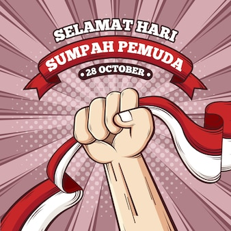 Sumpah pemuda illustration with fist