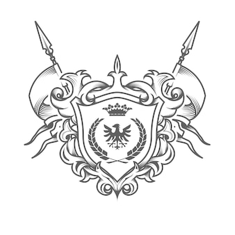 Sumptuous coat of arms isolated on white