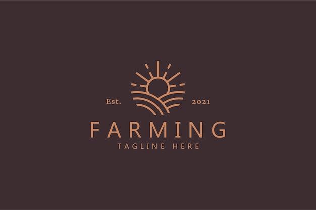 Логотип солнца и сельского хозяйства, изолированные на мягком коричневом
