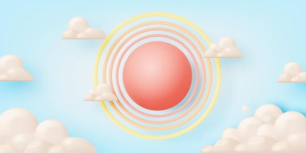 파스텔 컬러 일러스트에서 태양과 구름
