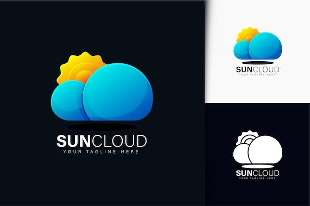 グラデーションの太陽と雲のロゴデザイン