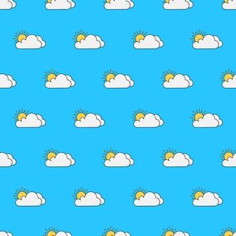 太陽と雲のシームレスなパターン。天気現象のテーマイラスト