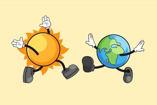 행복한 만남과 태양과 지구 만화 일러스트 레이션