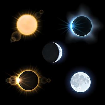 태양과 달과 태양과 달이 일식합니다. 천문학 하늘, 벡터 일러스트 레이 션 세트