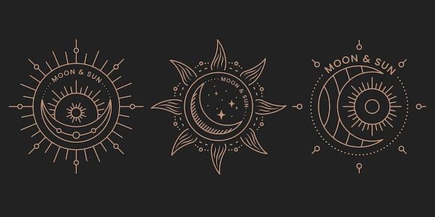 태양과 달의 우아한 로고 세트