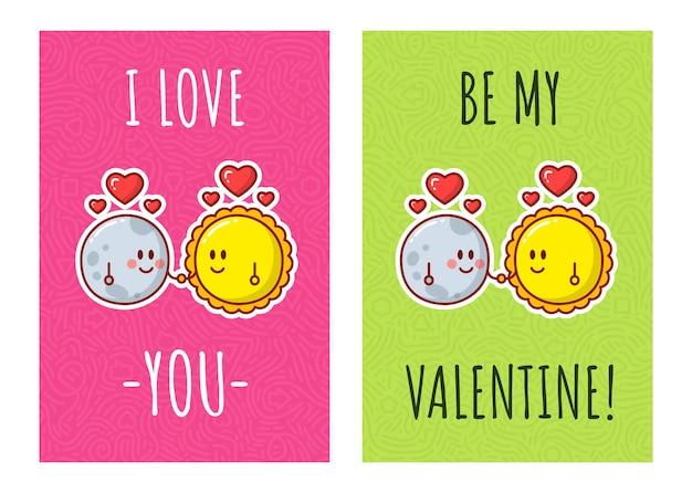 사랑에 태양과 달. 발렌타인 데이 인사말 카드입니다.