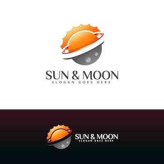 Шаблон логотипа солнце и луна
