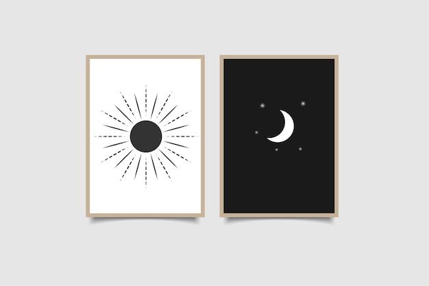 태양과 달 현대 포스터 흑백 색상