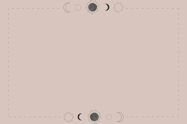 베이지색 바탕에 태양과 달