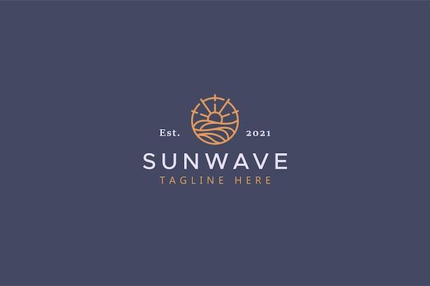 太陽と波のイラストバッジのロゴ。創造的なアイデアとシンプルなベクターテンプレートのブランドアイデンティティ。