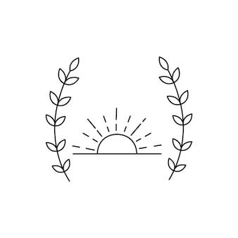太陽と花輪。ラインスタイル。白い背景で隔離。