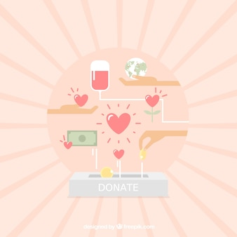 Sun background with elements of charity in soft colors