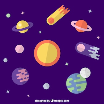 Sfondo di sole con i pianeti in disegno piatto