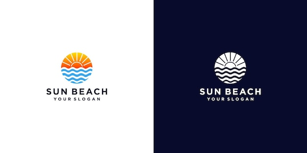 Sun beach logo design inspiration