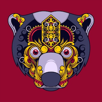 Sun bear illustration, tattoo and tshirt design