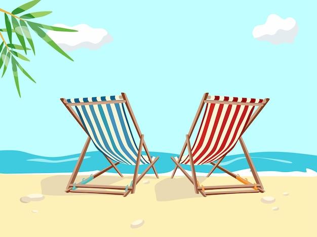 Sun beds on the beach by the sea cartoon colorful vector illustration